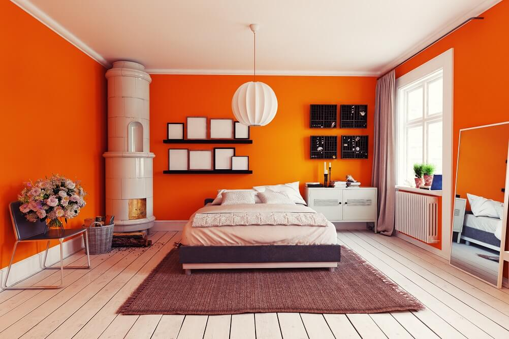 Orange Colour Family Room