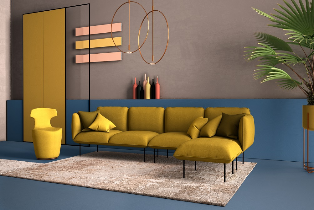 Mustard and Sapphire Colour Combination for Walls
